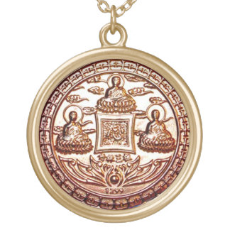Colar Banhado A Ouro Talismã do milagre de Trikaya Buddha do ouro