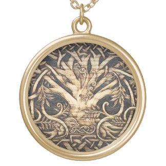 Colar Banhado A Ouro Yggdrasil - árvore de vida - pendente - grande