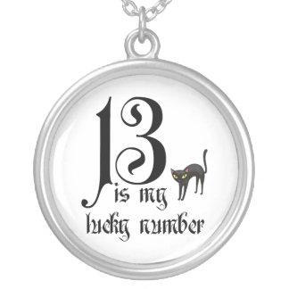 Colar Banhado A Prata 13 são meu número afortunado+gato preto