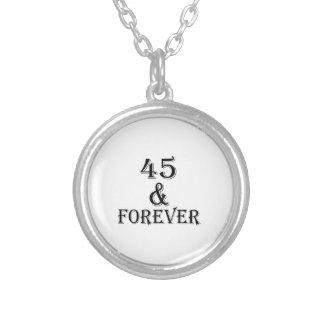 Colar Banhado A Prata 45 e para sempre design do aniversário