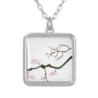 Colar Banhado A Prata 7 flores com pássaro cor-de-rosa, fernandes tony