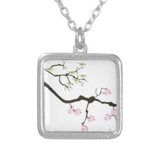 Colar Banhado A Prata 7 flores de sakura com 7 pássaros, fernandes tony