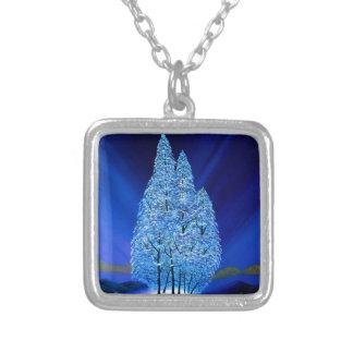 Colar Banhado A Prata A aurora boreal azul do Natal enfeita-se