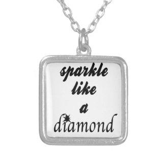 Colar Banhado A Prata A faísca gosta de um diamante