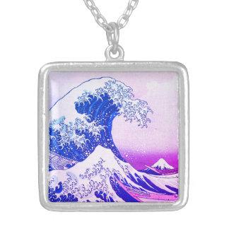 Colar Banhado A Prata A grande onda fora de Kanagawa
