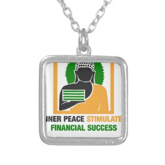 Colar Banhado A Prata A paz interna estimula o sucesso financeiro