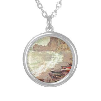 Colar Banhado A Prata A praia em Etretat - Claude Monet