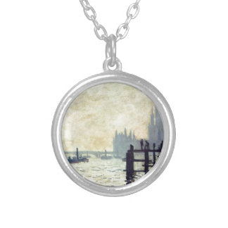 Colar Banhado A Prata A Tamisa abaixo de Westminster por Claude Monet