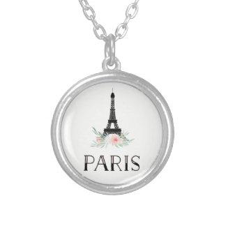 Colar Banhado A Prata A torre Eiffel na moda e cora flores cor-de-rosa  