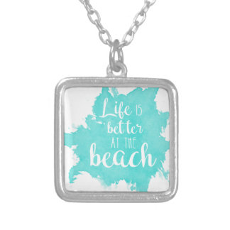 Colar Banhado A Prata A vida é melhor na praia