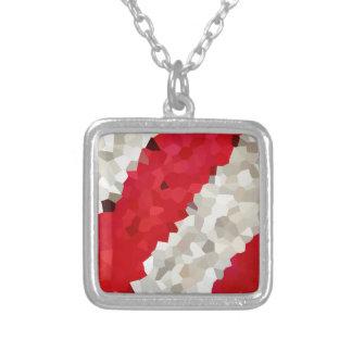 Colar Banhado A Prata Abstrato vermelho e branco do feriado de doces do