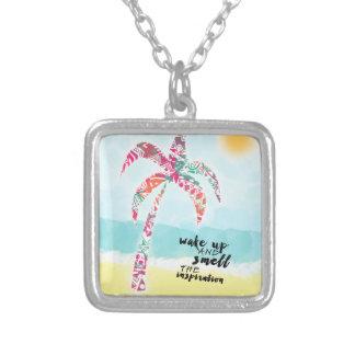 Colar Banhado A Prata acorde e cheire a inspiração, a praia e a palma