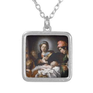 Colar Banhado A Prata Adoração dos pastores do século XVII