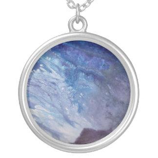 Colar Banhado A Prata Água branca azul triste da onda da pintura do