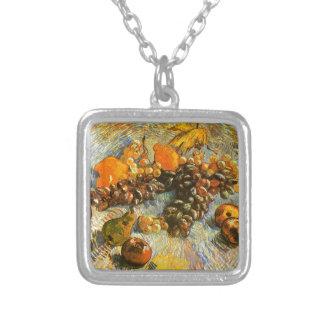Colar Banhado A Prata Ainda vida com maçãs, peras, uvas - Van Gogh