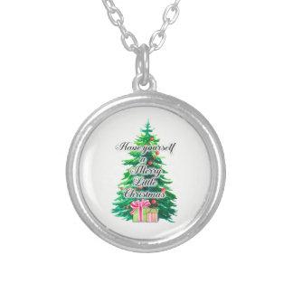 Colar Banhado A Prata Alegre poucos árvore e presentes de Natal