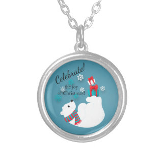 Colar Banhado A Prata Alegria dos presentes do Natal do urso polar