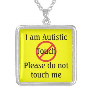 Colar Banhado A Prata Alerta médico do autismo nenhum toque