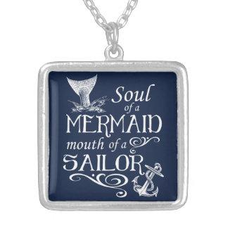 Colar Banhado A Prata Alma de uma sereia, boca de um marinheiro