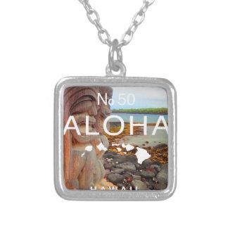 Colar Banhado A Prata Aloha nenhuns 50 Tiki