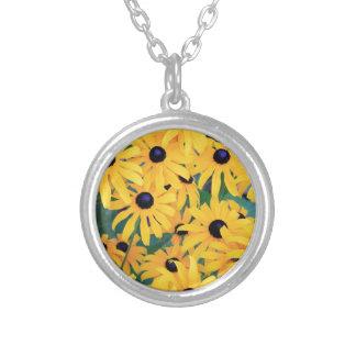 Colar Banhado A Prata Amarelo das flores de Susan de olhos pretos dentro