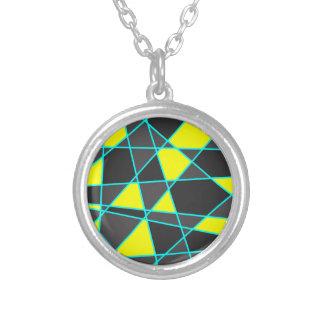 Colar Banhado A Prata amarelo de néon brilhante geométrico elegante e