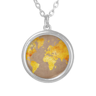 Colar Banhado A Prata amarelo do mapa do mundo