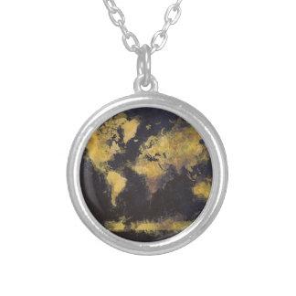 Colar Banhado A Prata amarelo preto do mapa do mundo