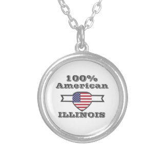 Colar Banhado A Prata Americano de 100%, Illinois