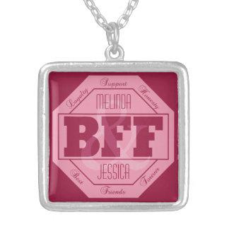 Colar Banhado A Prata Amizade de BFF - nomes feitos sob encomenda -
