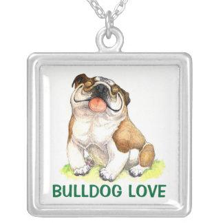 Colar Banhado A Prata Amor inglês dos desenhos animados do cão de