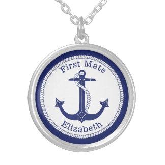 Colar Banhado A Prata Âncora azul náutica do primeiro companheiro