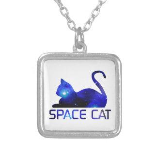 Colar Banhado A Prata Animal de estimação do gato do espaço