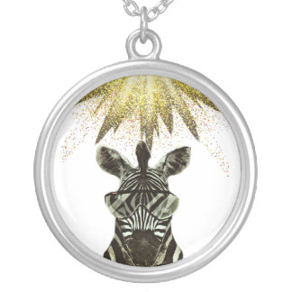 Colar Banhado A Prata Animal do estilo da zebra do hipster