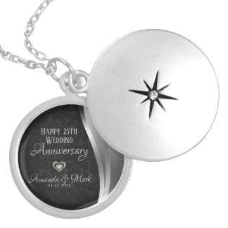 Colar Banhado A Prata Aniversário preto do Cetim da prata do damasco