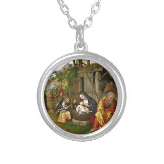 Colar Banhado A Prata Anjos c1515 da natividade e da criança