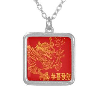 Colar Banhado A Prata Ano novo 2015 do dragão chinês vermelho do zodíaco