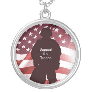 Colar Banhado A Prata Apoie as forças armadas patrióticas das tropas
