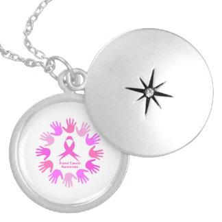 Colar Banhado A Prata Apoio da consciência do cancro da mama