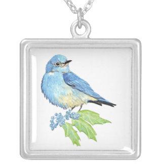 Colar Banhado A Prata Arte azul do pássaro do Bluebird da montanha da