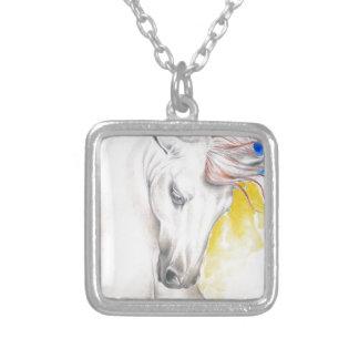 Colar Banhado A Prata Arte da aguarela do cavalo