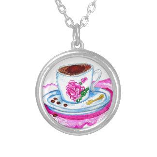 Colar Banhado A Prata Arte da chávena de café