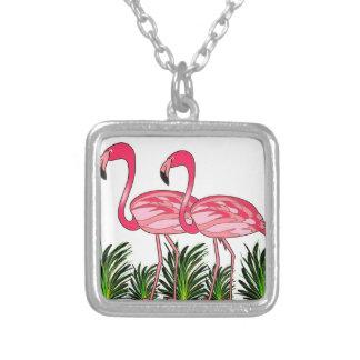 Colar Banhado A Prata Arte do amor do flamingo