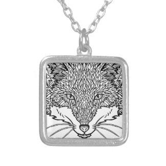 Colar Banhado A Prata Arte do Fox-Tatuagem - linha ilustração preta