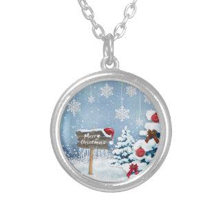Colar Banhado A Prata Arte do Natal - ilustrações do Natal