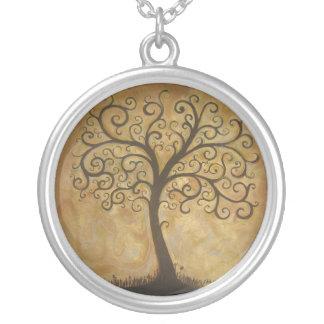 Colar Banhado A Prata Árvore do subtítulo da vida