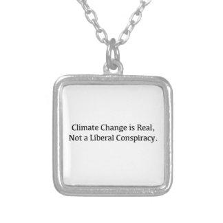 Colar Banhado A Prata As alterações climáticas são reais, não uma