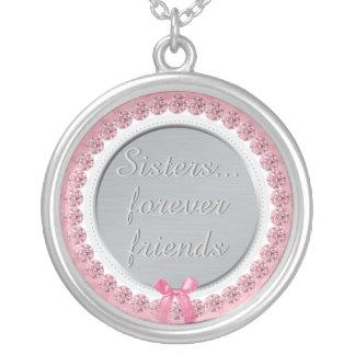 Colar Banhado A Prata As irmãs inspiradas citam para sempre o rosa dos