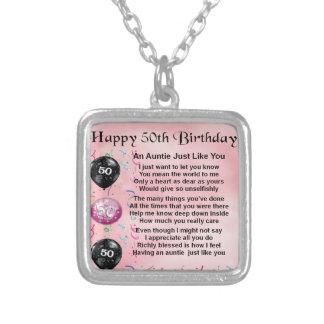 Colar Banhado A Prata Auntie Poema - 50th aniversário