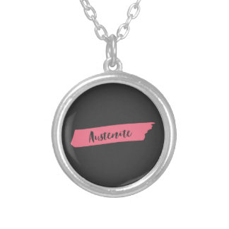Colar Banhado A Prata Austenita cor-de-rosa de Jane Austen da escova